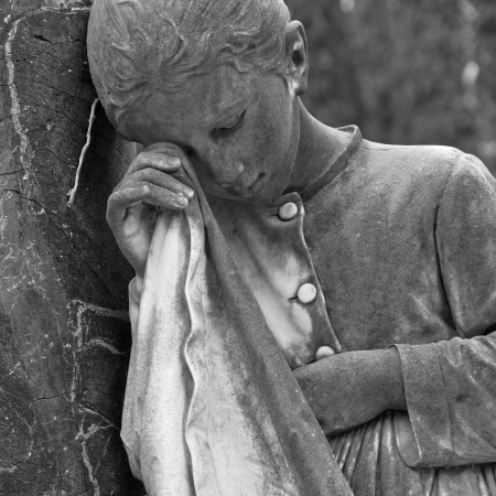 weeping girl- cemetery statue, Italy photo
