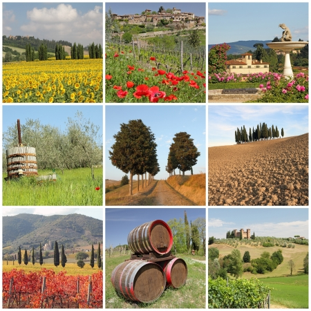 poster with amazing beauty of tuscan scenery, Italy, Europe photo