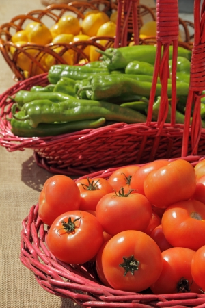 vegetables in baskets on farmers market in Spain photo