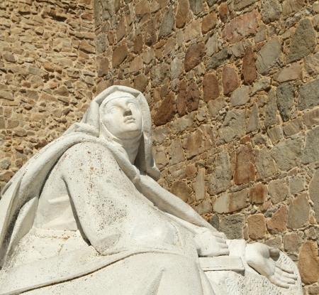 Teresa of Avila, also called Saint Teresa of Jesus, baptized as Teresa Sanchez de Cepeda y Ahumada,  statue in Avila, Spain, Europe 版權商用圖片