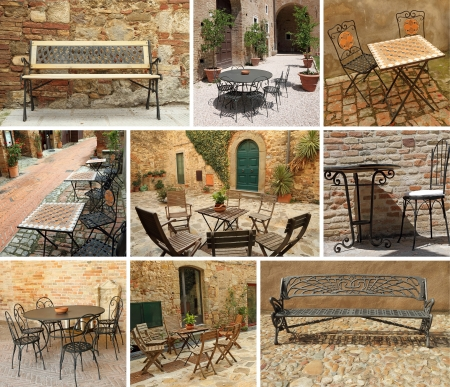 mediterranean houses: Vintage garden furniture collage, Italy, Europe
