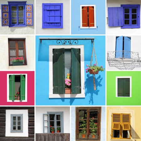 colorful country windows collection, Europe photo