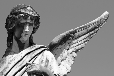 statue of angel with one wing