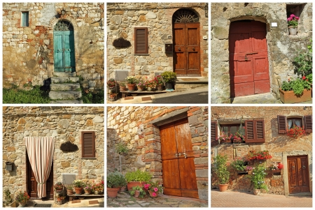 postcard with rustic tuscan doors, Italy Stock Photo - 19386168