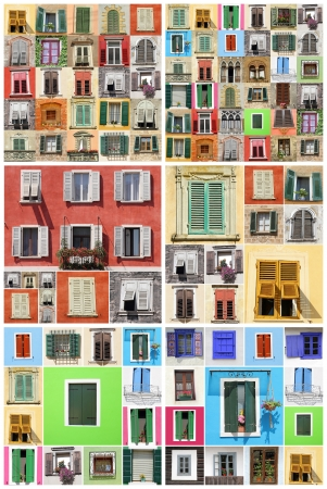 abstract wall with many colorful old windows with shutters, Italy, Europe photo