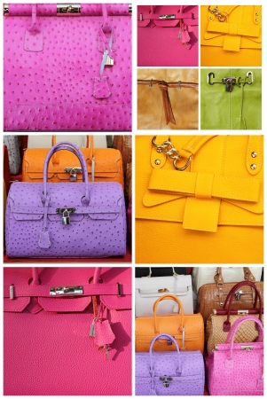 colorful leather handbags collection, Italy, Europe photo