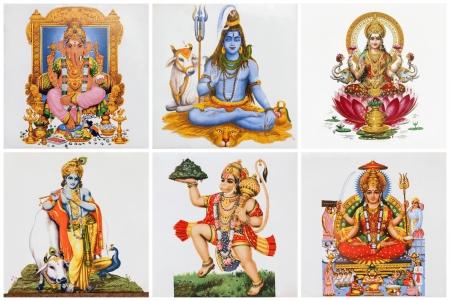 hinduismo: cartaz com deuses hindus em telhas cer
