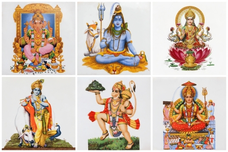 krishna: poster met hindoe goden op keramische tegels