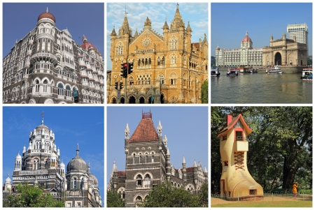 collage with landmarks  of Mumbai city ( formerly Bombay) , India photo