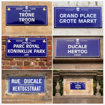 street name sign: streets names collage, Brussels, Belgium, Europe