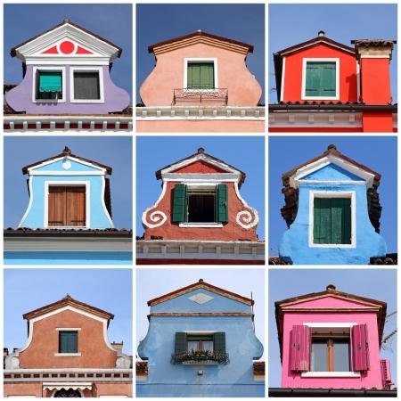 antique colorful roof windows collection, Burano,Venice, Veneto, Italy, Europe photo