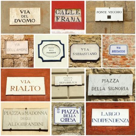 street name sign: italian street  collage