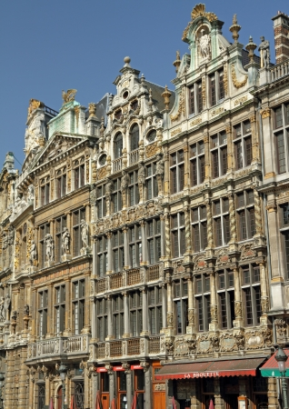 belgique: Guildhalls on the Grand Place, Brussels, Belgium Stock Photo