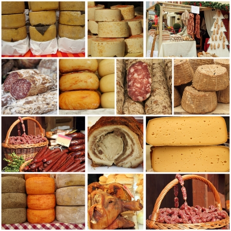 cheese and meat on farmers market - collage photo