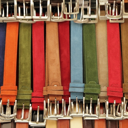 trouser: colorful suede trouser belts display