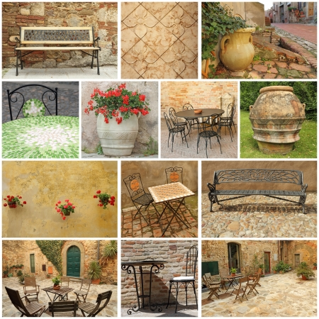 home garden: living in Tuscany  -  collage Stock Photo