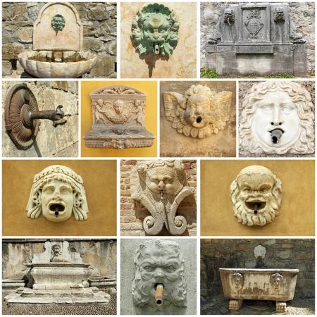 source d eau: Vintage rue source d'eau collage - Italie
