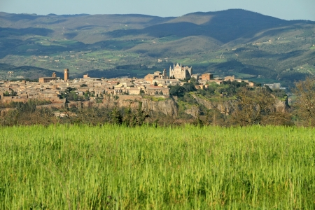 fantastic view: fantastic view of panorama of Orvieto town on tuff rock, Umbria, Italy, Europe Stock Photo