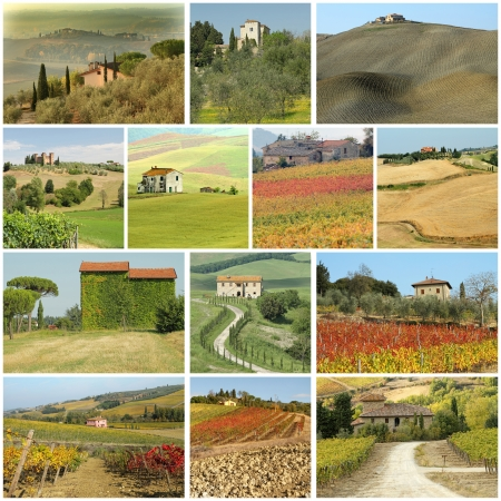 country houses in  scenic tuscan landscape  - collage  photo