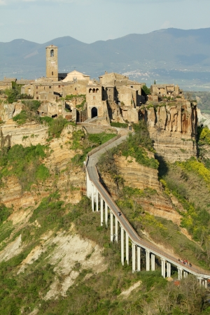 spectacular view of Civita di Bagnoregio , called the dying town, in province of Viterbo, Lazio, Italy, Europe photo