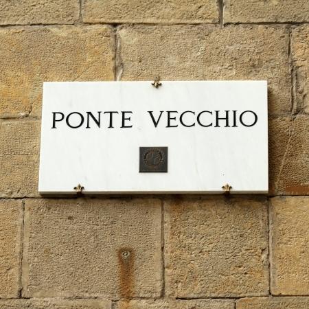 street name sign: marble street sign   Ponte Vecchio    Old Bridge  , Florence, Italy, Europe Editorial