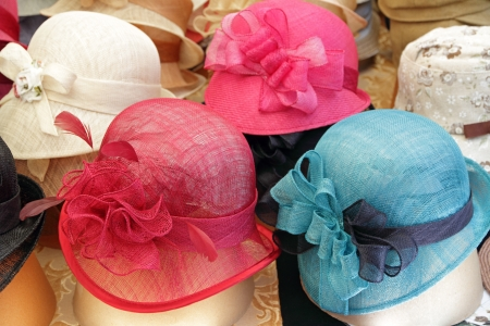 firenze: elegant colorful women straw hats collection, Firenze, Italy, Europe