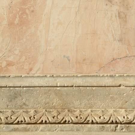 pink and white antique marble decorative border, Florence, Italy photo