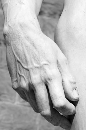 hand carved: hand of famous David  carved by Michelangelo , Florence, Tuscany, Italy, Europe