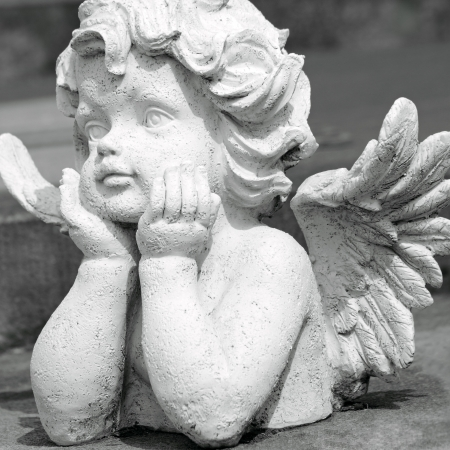 white marble: cute angelic sculpture