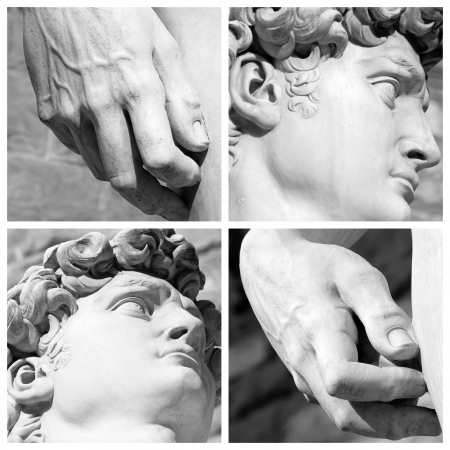focus on  details of famous  sculpture of David by Michelangelo, Florence, Italy, Europe