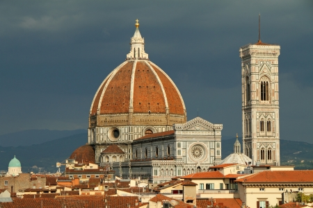 Fantastic view of  Basilica di Santa Maria del Fiore    Basilica of Saint Mary of the Flower    on navy blue sky  Design of Arnolfo di Cambio and  with  dome by Filippo Brunelleschi, Florence, Italy