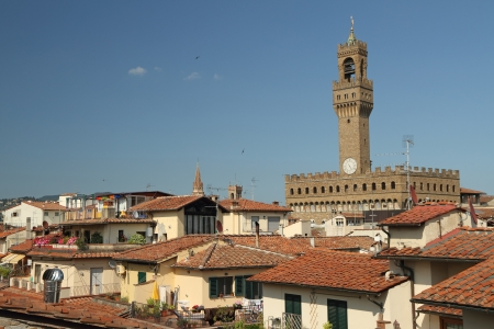 crenellated tower: The Palazzo Vecchio   Old Palace   dominated over roofs of buildings, Florence