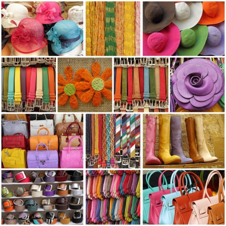 colorful women accessories, images from shop windows in Italy 免版税图像