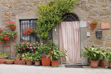entrance door with curtain, Tuscany, Italy, Europe photo