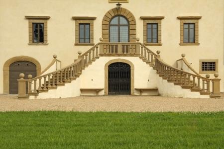 balustrade: entrance with double stairway to the splendid  VILLA DI MONSOGLIO a Laterina, Arezzo, Tuscany, Italy, Europe