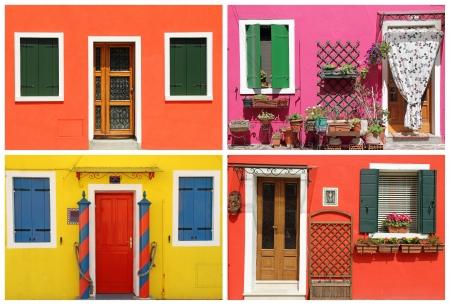 Fotomontage mit Multicolor lebendige bemalte Häuser in Burano, Venedig, Venetien, Italien, Europa Standard-Bild - 21161037