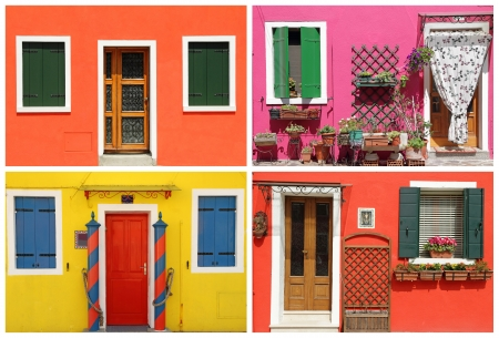 photo- montage with multicolor  vivid painted houses  in Burano, Venice, Veneto,Italia, Europe
