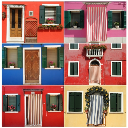 composition with colorful houses from borgo Burano near Venice, Veneto, Italy, Europe  photo