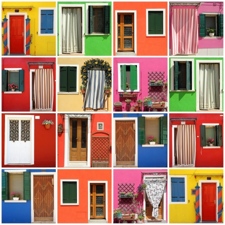 multicolor abstract facade made of images from Burano village,Venezia,Veneto,Italia, Europe photo