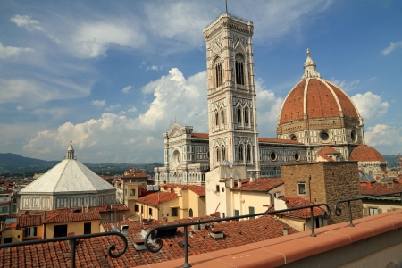 heritage site: fantastic view of the Basilica di Santa Maria del Fiore   Basilica of Saint Mary of the Flower   and   Battistero di San Giovanni   Baptistery of St  John   from roof terrace, Florence, Italy, Europe