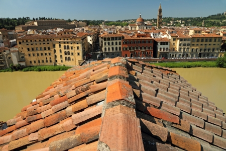 Florence - roof top view of Arno river and Oltrarno district, Tuscany, Italy, Europe photo