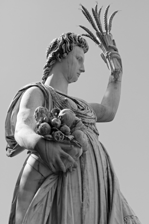 Statue of Ceres   greek Demeter   - ancient roman goddess  of the harvest, who presided over grains and the fertility of the earth - in historic Gardens of Boboli in Florence, Tuscany , Italy, Europe