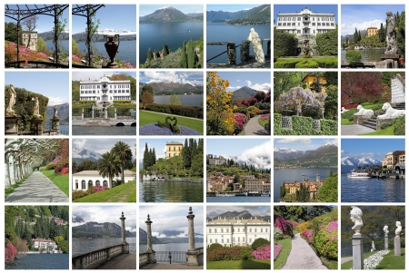 lake como: composition with spectacular images from Lake Como, Milan, Lombardy, Italy, Europe