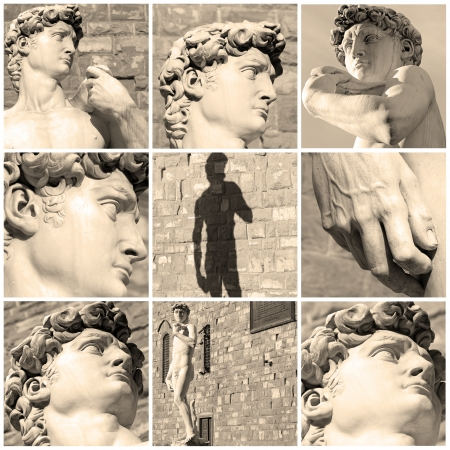 florence   italy: composition with images of David by Michelangelo, Florence, Italy, Europe Stock Photo