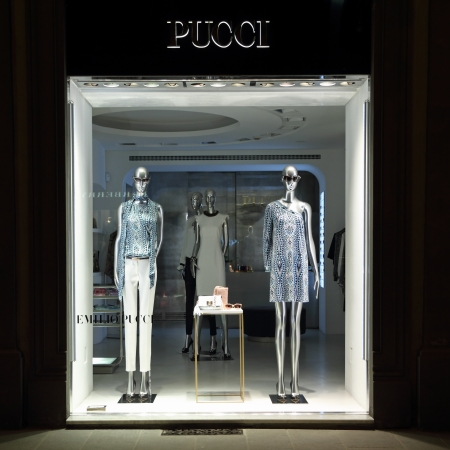 synonymous: FLORENCE - JUN 7  Emilio Pucci boutique in Florence on  Tornabuoni street on June, 7,2013  Emilio Pucci  and his  company are synonymous with geometric prints in a kaleidoscope of colors