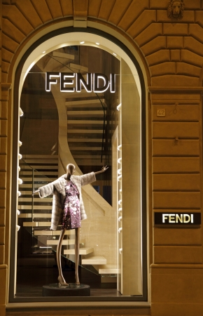 lvmh: FLORENCE - JUN 7  FENDI boutique in Florence on  famous for luxury shopping Tornabuoni street on June, 7,2013  Fendi is a multinational luxury goods brand owned by LVMH Moet Hennessy Louis Vuitton