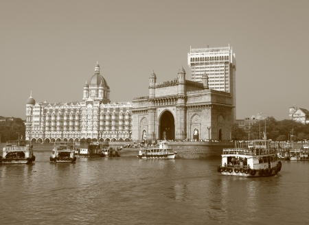 Gate of India and famous  hotel Taj Mahal Palace in Mumbai   formerly Bombay  seen from the sea, India, Asia