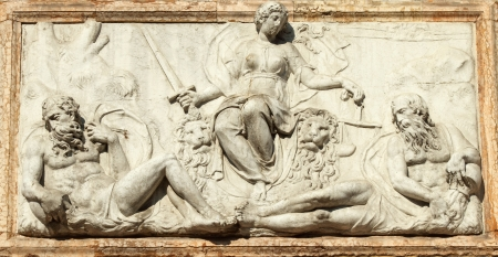 bas relief: relief representing Venice as Justice from the Loggetta by Jacopo Sansovino, under the Campanile di San Marco in Venice, Italy, Europe  Editorial