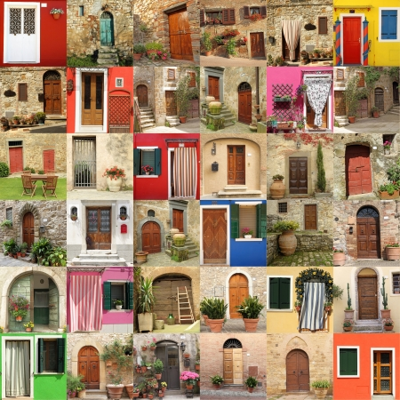 many doors: abstract house made of many doors, images from Italy, Europe Stock Photo