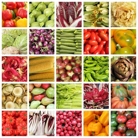 agriculture wallpaper: collection of images from vegetable farmers market in Italy  Stock Photo